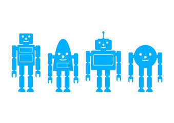 Blue robot icons on white background