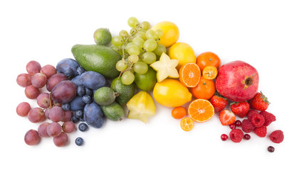 ripe fesh fruits as a rainbow