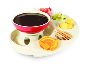 Fondue with chocolate and fruit