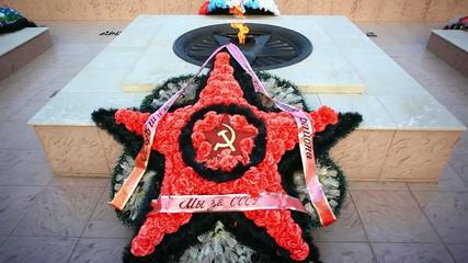 Eternal Flame at memorial to fallen defenders the motherland. HD