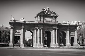 Madrid - city gate. Black and white photo.