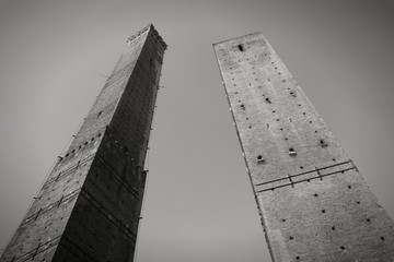 Bologna, Italy. Black and white photo.
