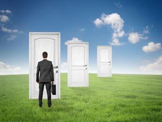 Mann steht vor Türen  in der Landschaft