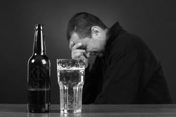 alcoholic in despair, smoker, trouble, drunk man, depression