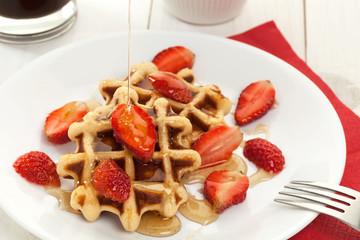 Waffle dessert with honey