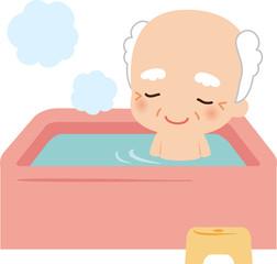 お風呂でくつろぐ高齢男性
