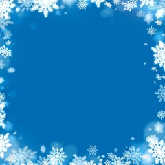 christmas snowflake frame and blue background