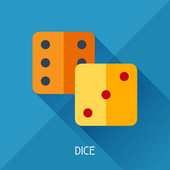 Game illustration with dice in flat design style.