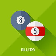 Game illustration with billiard in flat design style.