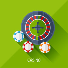 Game illustration with casino in flat design style.