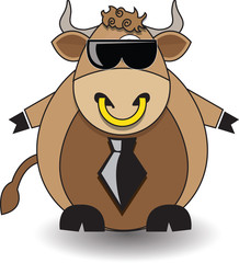 Dairy bull with dark glasses
