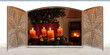 canvas print picture - Weihnachtsfenster mit Kaminfeuer und Adventskranz