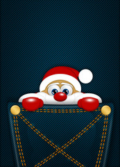 christmas santa claus sitting in pocket