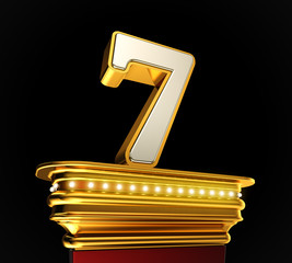Number Seven on golden platform over black background