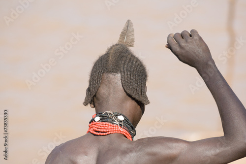 Fotobehang Overige Typical hairstyle of men of the ethnic Hamer group, Ethiopia
