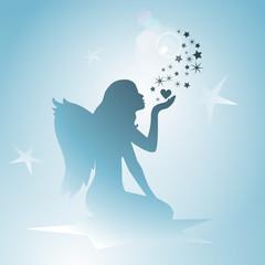 Engel mit Sternen - Silhouette