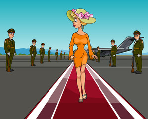 cartoon woman in a hat walking on the red carpet of the aircraft