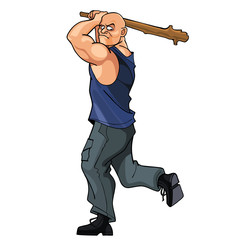 bald strong man brandishing cudgel