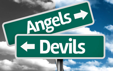 Angels x Devils creative sign with clouds as the background