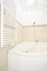 Corner bathtub and radiator