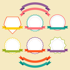 Vector set of ribbons and starburst pack for your design.