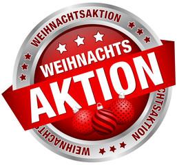"""Button Banner """"Weihnachtsaktion"""" Kugeln rot/silber"""