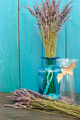 Lavender still-life on the blue background