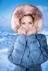 Cute female outdoors in winter