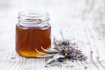herbal honey with lavender flowers