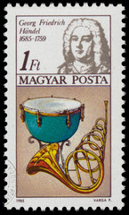 Stamp printed in Hungary shows Georg Frederic Hande