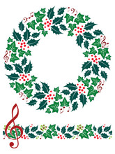 Christmas Music Wreath and Seamless Border. Isolated.