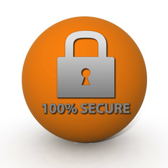 Lock circular icon on white background