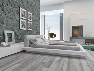 Modern bedroom interior with grey decor
