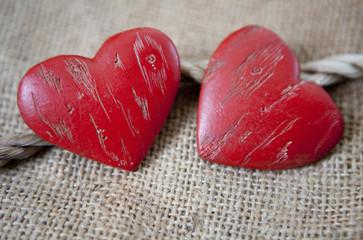 coeurs Saint Valentin lien corde union