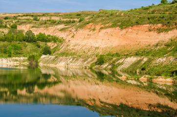 Panoramic mountain crater lake