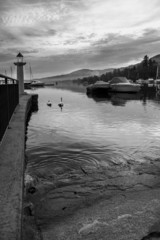 Lake Maggiore, Lesa, winter view. BW image
