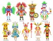 Leinwanddruck Bild - A set of ancient Aztec gods and goddesses