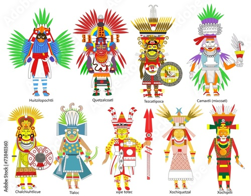 Leinwanddruck Bild A set of ancient Aztec gods and goddesses