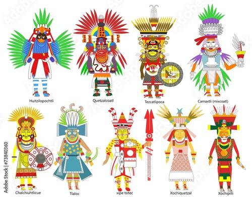 A set of ancient Aztec gods and goddesses - 73840360