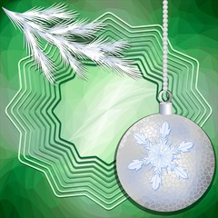 Green christmas background with silver ball and frosted branch