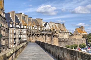 Wall of historical city Saint Malo, France
