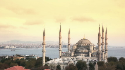 Blue Mosque in Istanbul at Sunset, Panoramic View