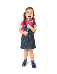 Blonde girl singing over white background