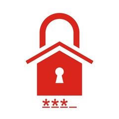 Icono hogar y candado contraseña rojo