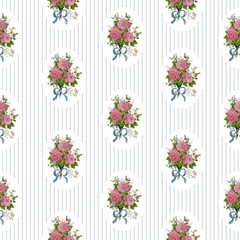 Vintage pattern with roses on striped background