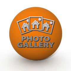 Photo gallery circular icon on white background