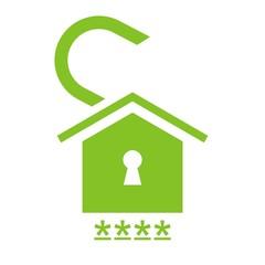 Icono hogar candado abierto verde