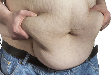overweight Man ipinching belly fat