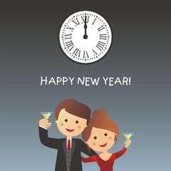 Happy New Year con pareja brindando