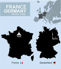 France and Germany, vector maps